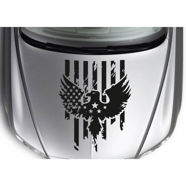 Hood Eagle Wings Stars Stripes USA Flag Distressed Car Truck Vinyl Sticker Decal