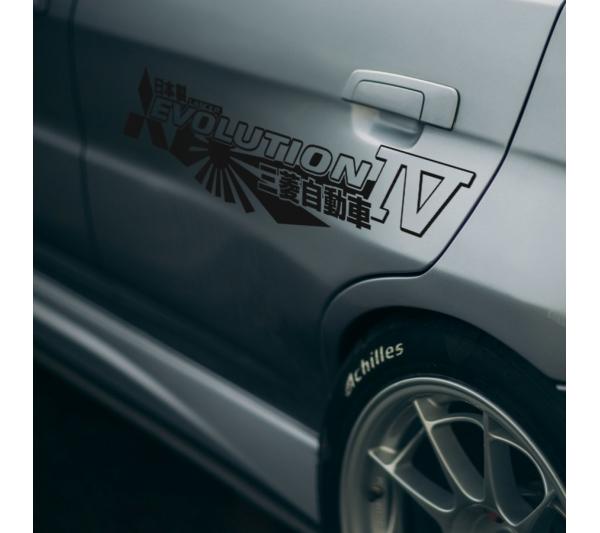 2x Pair Side Mitsubishi v11 IV 4 Logo Lancer Evo 三菱 自動車  JDM Japan Made Rising Sun Evolution GT-A RS WRC GSR MR MIVEC DOHC Car Vinyl Sticker Decal