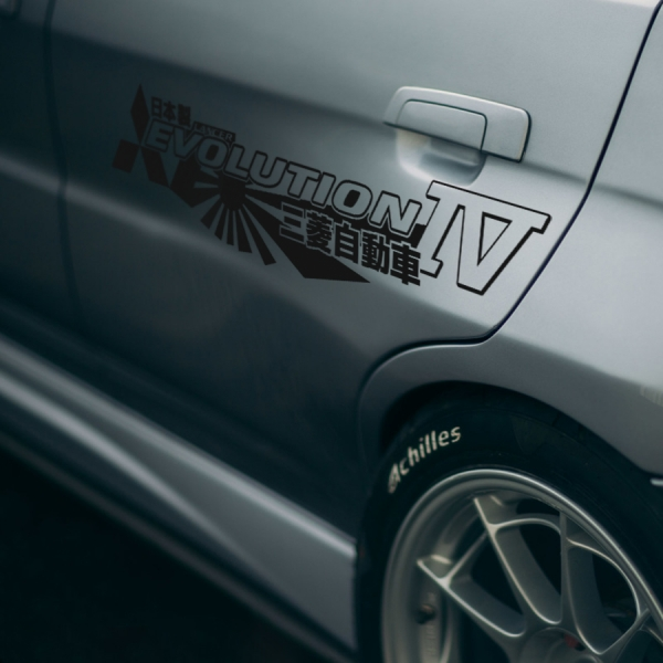 2x Pair Side Mitsubishi v11 IV 4 Logo Lancer Evo 三菱 自動車  JDM Japan Made Rising Sun Evolution GT-A RS WRC GSR MR MIVEC DOHC Car Vinyl Sticker Decal