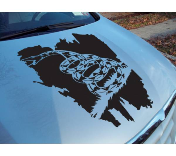 Hood Gadsden Flag USA Snake Don't Tread Me South Rebel Vinyl Decal Car Any Color