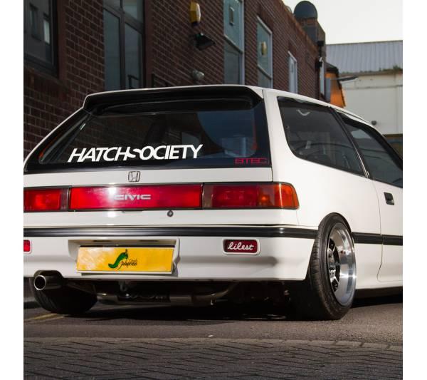Hatch Society v3 Hatchback Honda Civic Banner Drift Racing Low Stance Slammed JDM Windshield Car Vinyl Sticker Decal