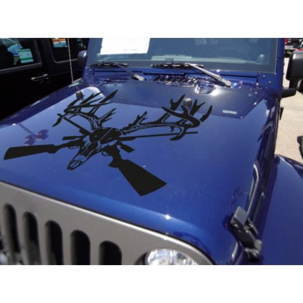 Hood Hunting Hunter Deer Skull Horns Guns Rifle Wood Vinyl Decal Car Truck