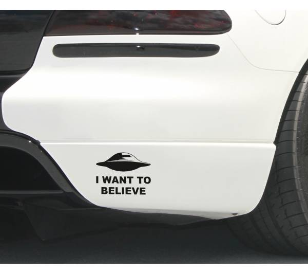 I Want to Believe UFO Aliens X Top Secret Funny Car Laptop Vinyl Sticker Decal