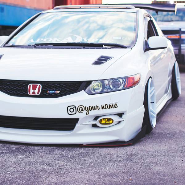 Instagram v2 Any Custom Name Social JDM Stance Build Event Show Banner Windshield Decal Car Vinyl Sticker