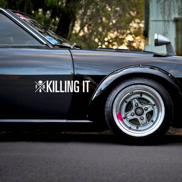 Killing It v1 Death Tune Skull Zilla Life Stance Kanji Katakana Drift Racing Rising Sun Japan JDM Car Vinyl Sticker Decal >