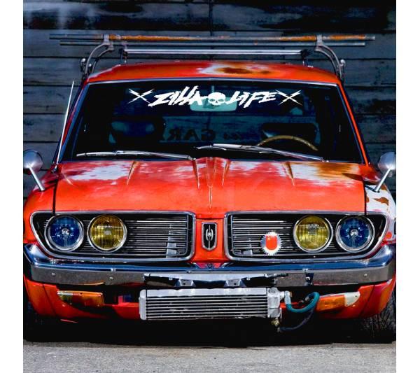 Windshield Zilla Life Skulls Strip Banner Killing It Death Tune Stance Drift Racing Rising Sun Japan JDM Car Vinyl Sticker Decal
