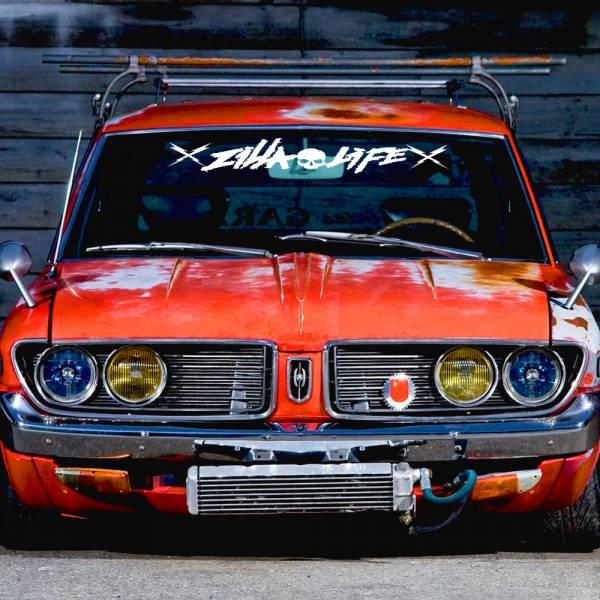 Windshield Zilla Life Skulls Strip Banner Killing It Death Tune Stance Drift Racing Rising Sun Japan JDM Car Vinyl Sticker Decal >