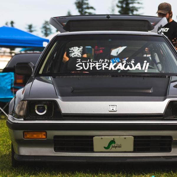 Super Kawaii v2 スーパーかわいい JDM Stance Low Tuning Slammed Banner Car Vinyl Sticker Decal>