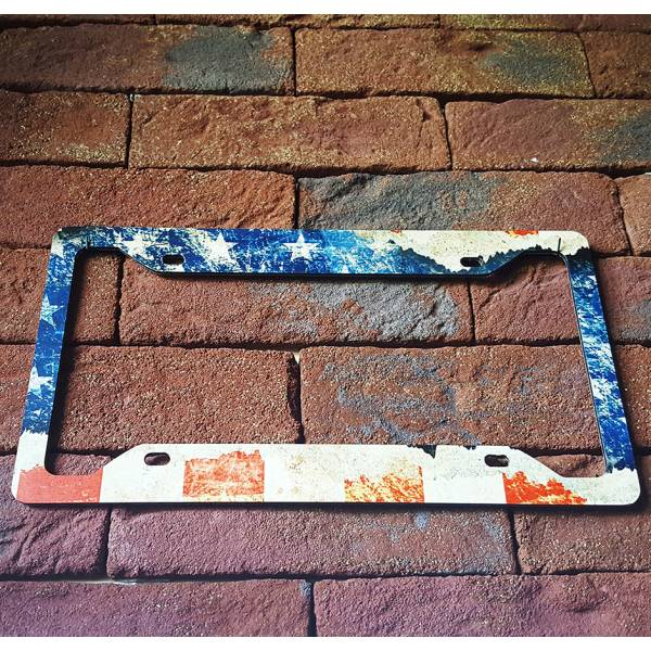 USA Flag Star American Distressed Patriotic Printed Aluminum Composite Car License Plate Frame>