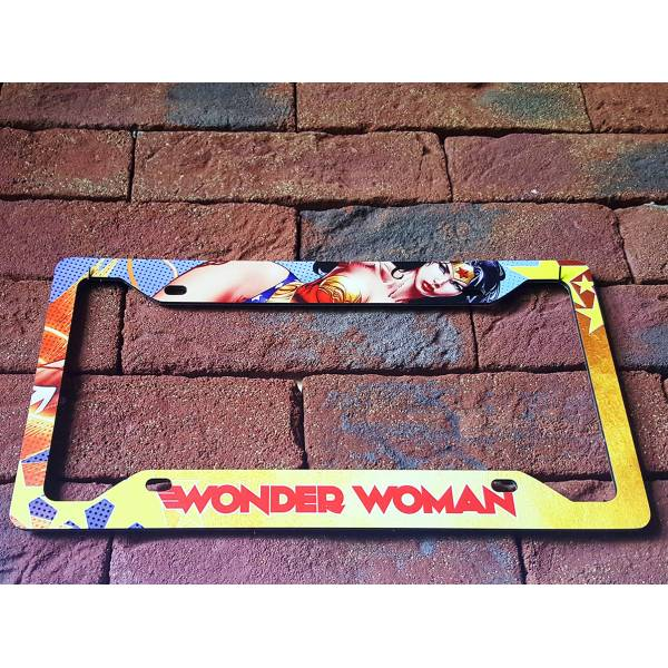 Wonder Woman DC Comics Sexy Lady Driven Girl Printed Aluminum Composite Car License Plate Frame