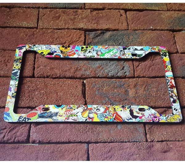 Sticker Bomb JDM Stance Low Slammed Printed Aluminum Composite Car License Plate Frame
