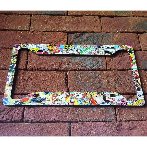 Sticker Bomb JDM Stance Low Slammed Printed Aluminum Composite Car License Plate Frame>
