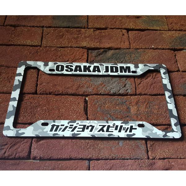 Osaka Flying Spirit JDM Kanjo Performance Loop Angels Printed Aluminum Composite Car License Plate Frame>