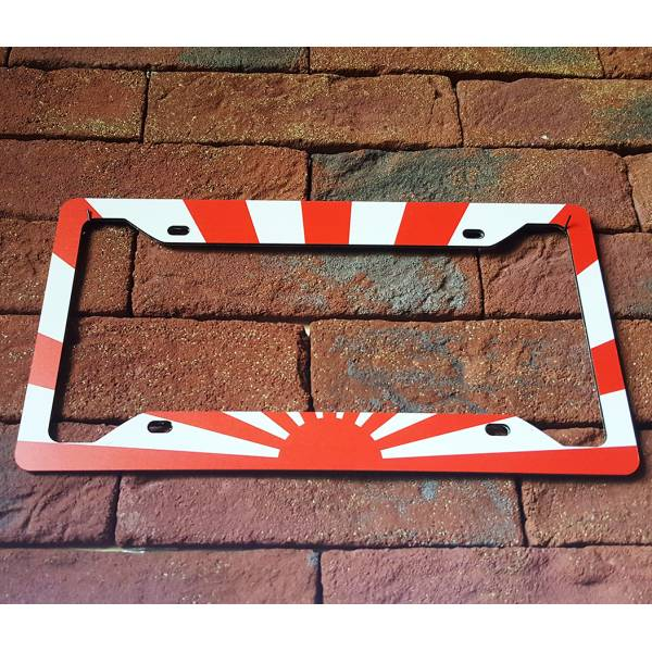 JDM Rising Sun Flag Low Stance Static Show Printed Aluminum Composite Car License Plate Frame>