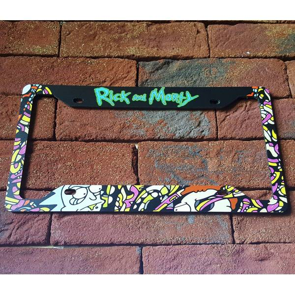 Cartoon Rick And Morty Printed Aluminum Composite Car License Plate Frame>