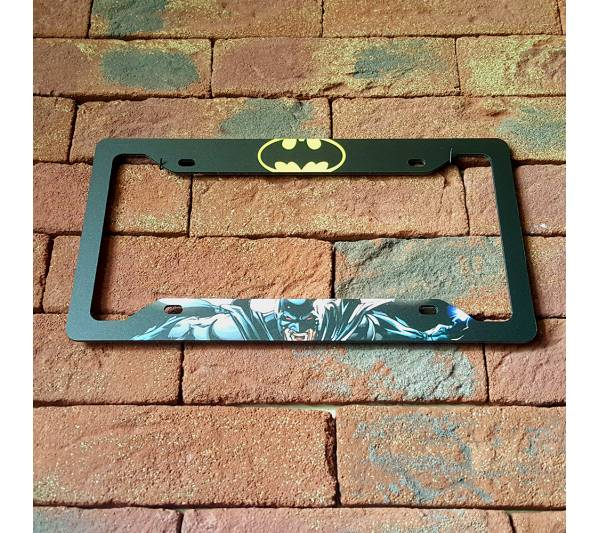 Batman v1 Logo Sign Wayne Gotham Printed Aluminum Composite Car License Plate Frame