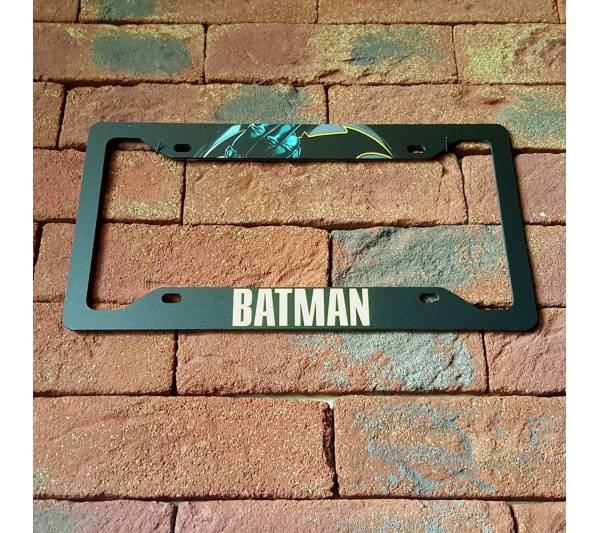 Batman v3 Logo Sign Wayne Gotham Printed Aluminum Composite Car License Plate Frame