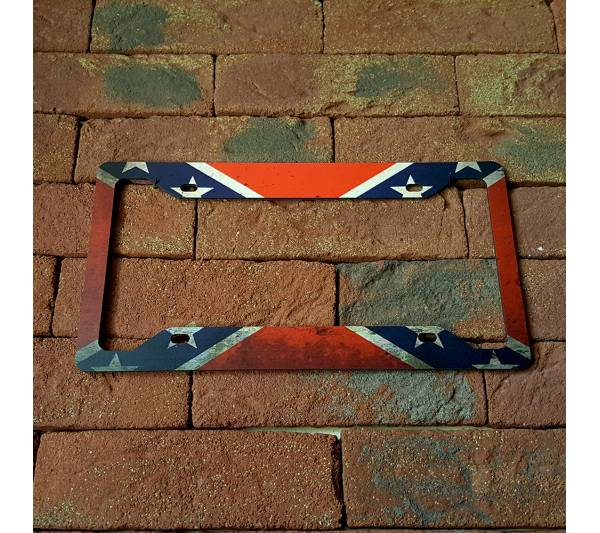 Confederate Flag USA Southern Patriotic American Printed Aluminum Composite Car License Plate Frame