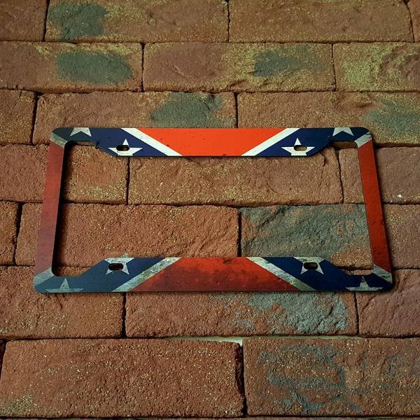 Confederate Flag USA Southern Patriotic General Lee American Printed Aluminum Composite Car License Plate Frame