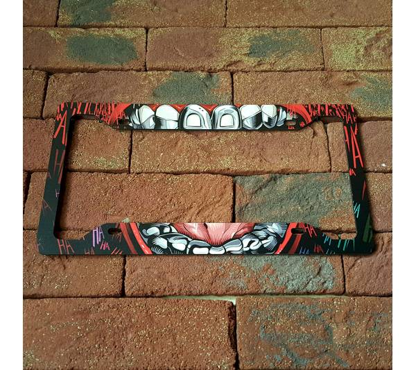 Joker Hahaha v2 DC Comics Suicide Squad Serious Smile Printed Aluminum Composite Car License Plate Frame