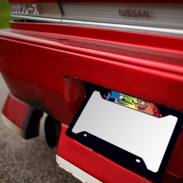 Cartoon Regular V1 Mordecai Rigby Funny Printed Aluminum Composite Car License Plate Frame>