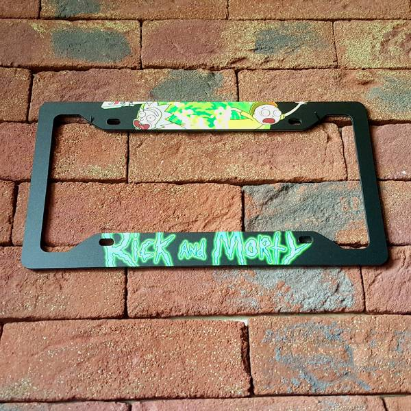 Cartoon Rick And Morty V3 Printed Aluminum Composite Car License Plate Frame