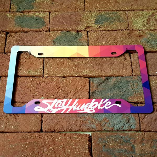 Stay Humble Fun JDM Stance Japan Performance Printed Aluminum Composite Car License Plate Frame