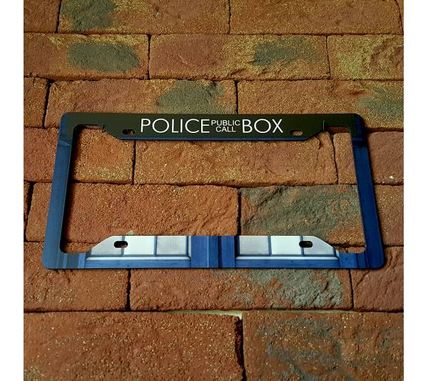 Doctor Who TV Show TARDIS Police Box Master Dalek Printed Aluminum Composite Car License Plate Frame