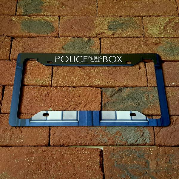 Doctor TARDIS Police Box Master Dalek Printed Aluminum Composite Car License Plate Frame>