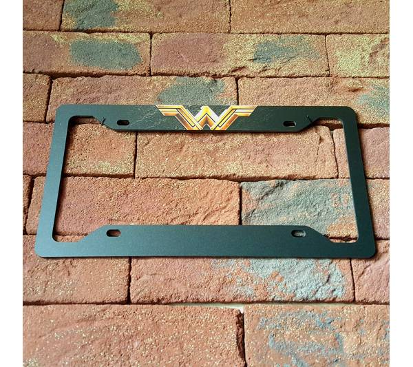 Wonder Woman v3 DC Comics Logo Lady Driven Girl Printed Aluminum Composite Car License Plate Frame