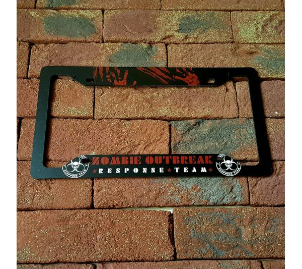 Zombie Outbreak Response Team Walking Dead Blood Printed Aluminum Composite Car License Plate Frame