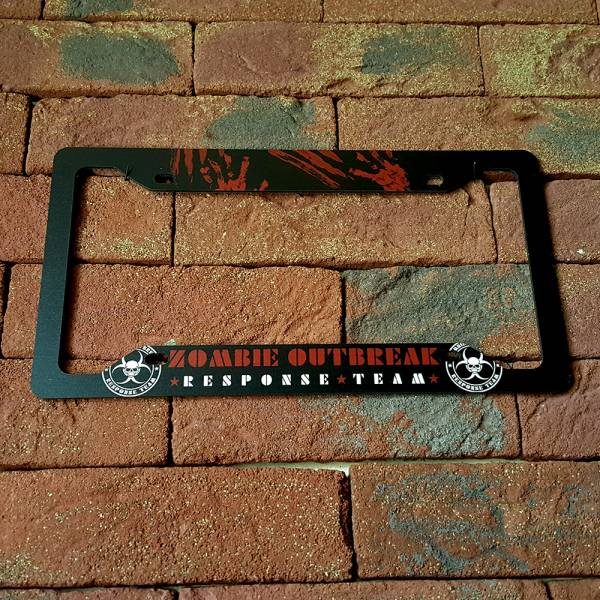 Zombie Outbreak Response Team Walking Dead Blood Printed Aluminum Composite Car License Plate Frame>