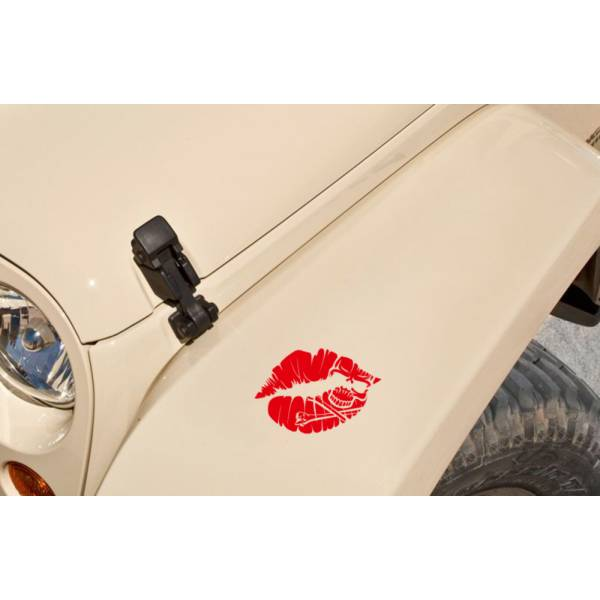 Pair of Skull Lips Hot Kiss Driven Woman Lady Girl Decal Car Truck Vinyl Sticker>