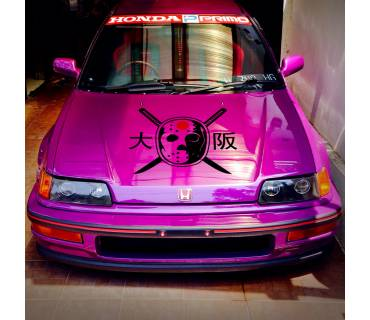 Hood Loop One Logo Mask v2 Osaka 大阪 Kanjo Honda EK EG EF Kanjozoku No Good Racing  JDM Stance Event Low Vinyl Decal