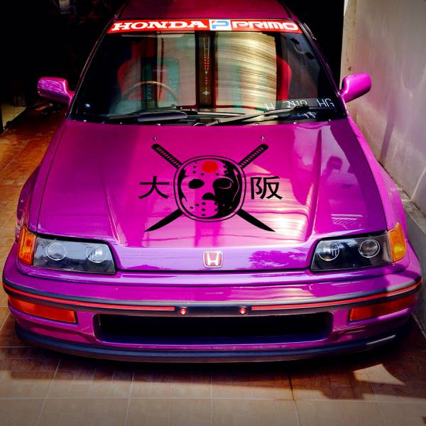 Hood Loop One Mask v2 Osaka 大阪 Kanjo EK EG EF Kanjozoku No Good Racing JDM Stance Event Low Vinyl Decal>