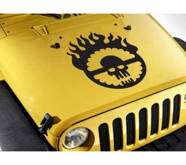 Hood Mad Max Logo Fury Road Stripe Skull Flame Race Hot Car Vinyl Sticker Decal 28''x23''  (711.2mm x 584.2mm)