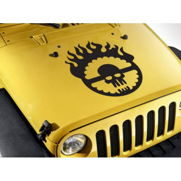 Hood  Fury Road Stripe Skull Flame Race Hot Car Vinyl Sticker Decal>