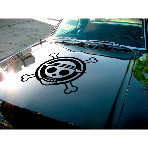 One Piece Hood Logo Skull Monkey D. Luffy Pirates King Anime Manga Car Vinyl Sticker Decal