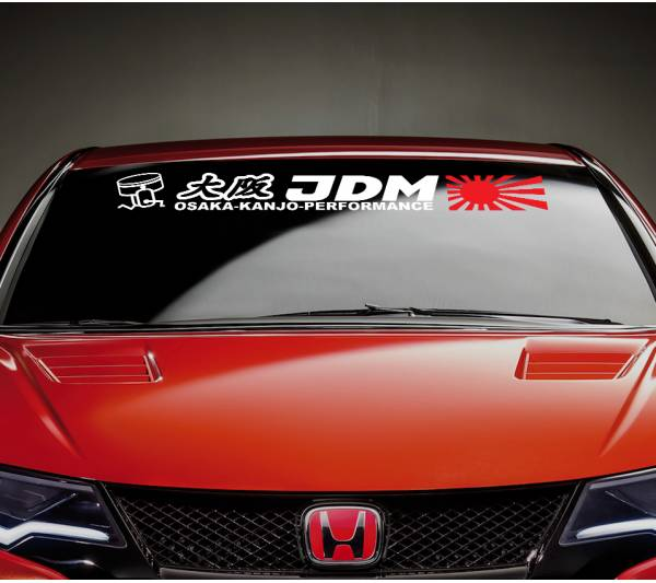 Osaka Kanjo Performance Honda Rising Sun Strip JDM Stance Car Windshield Vinyl Sticker Decal