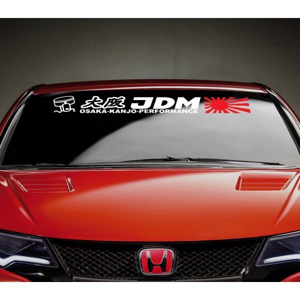 Osaka Kanjo Performance Rising Sun Strip JDM Stance Car Windshield Vinyl Sticker Decal>