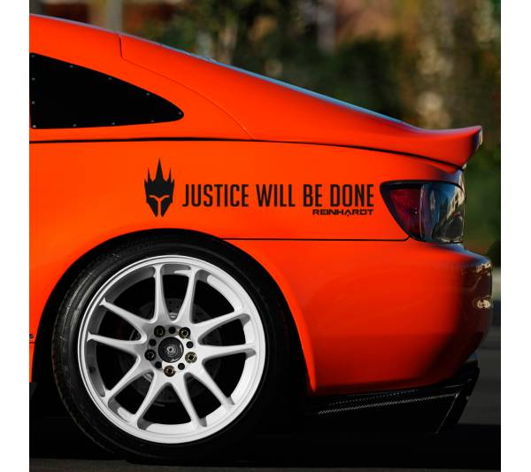 2x Pair Reinhardt Justice Will Be Done Overwatch Ultimate Logo Video Game Car Vinyl Sticker Decal
