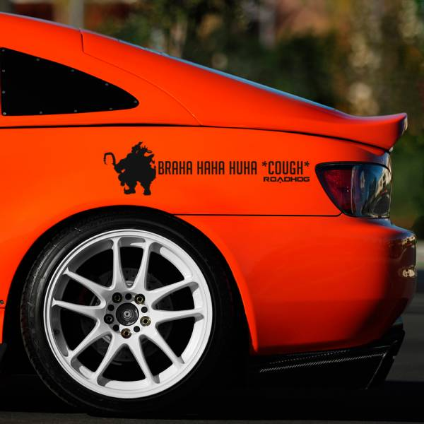 2x Pair Roadhog Hahaha Braha Pig Ultimate Car Vinyl Sticker Decal>