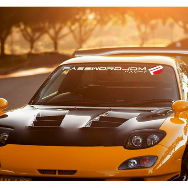 Long Password JDM Logo Windshield Strip Banner Show Royal Event Stance Low Vinyl Decal