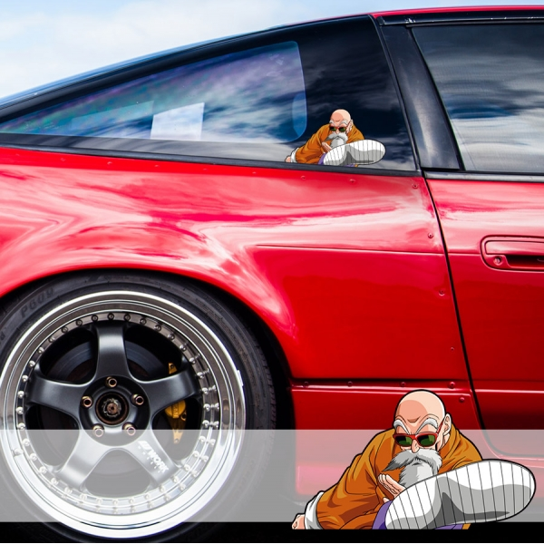 Peeking Master Roshi v2 Turtle Hermit Goku Saiyan Dragon Z Super DBZ Funny JDM Racing Low Stance Anime Manga Car Vinyl Sticker Decal>