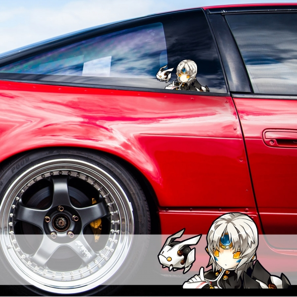 Peeking Elsword Eve Sexy Hot Girl Funny JDM Racing Low Stance Anime Manga Car Vinyl Sticker Decal