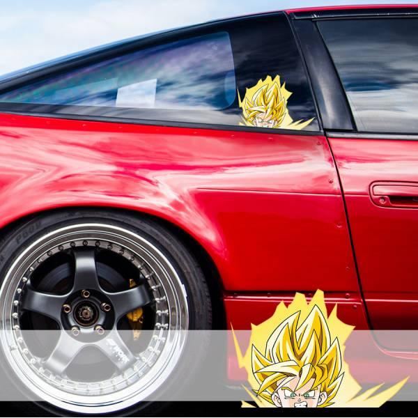 Peeking Goku Saiyan Dragon Ball Z Super DBZ Funny JDM Racing Low Stance Anime Manga Car Vinyl Sticker Decal
