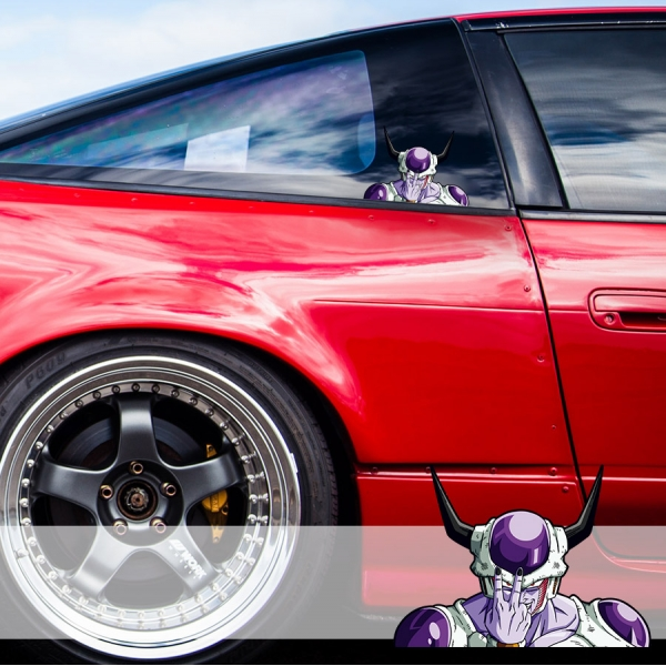 Peeking Frieza v2 Horns Emperor Universe 7 Goku Saiyan Dragon Ball Z Super DBZ Funny JDM Racing Low Stance Anime Manga Car Vinyl Sticker Decal