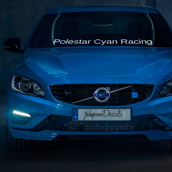 Polestar CYAN Racing v1 Windshield Stripe Banner Performance Volvo S60 V60 XC60 Sport Vinyl Sticker Decal