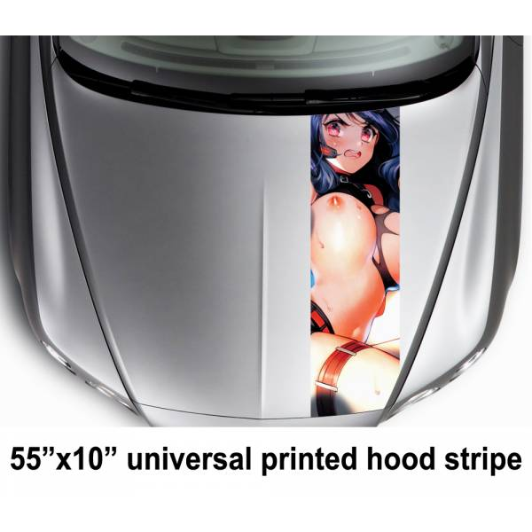 "55"" Hood Printed Stripe Anime v2 Sexy Boobs Manga  Car Vinyl Sticker Decal"