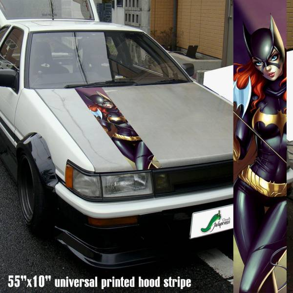 "55"" Hood Printed Stripe Barbara Gordon Comic Bruce Wayne Gotham v2 Sexy Lady Driven Girl Car Vinyl Sticker Decal>"